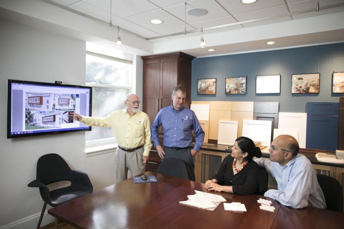 Feinmann's design-build team presenting a bathroom design